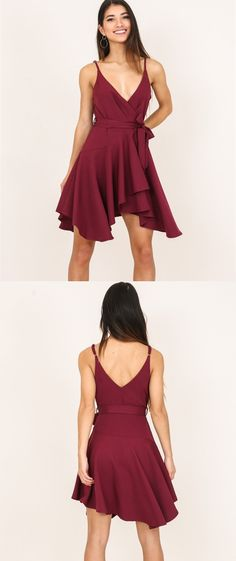 short burgundy chiffon homecoming dress, 2017 short homecoming dress, flowy short v neck burgundy chiffon homecoming dress