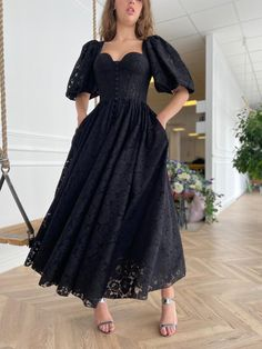 Details:-Italian Daniele fabric-Black colour-Tea length style with open slit and puff mid-sleeves Cheap Prom Dresses, Stylish Dresses, Classy Dress, Classy Outfits, Gabriela Montez, Pretty Dresses, Beautiful Dresses, African Traditional Dresses, Event Dresses