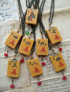 Steampunk Necklaces with vintage Bakelite Mah Jong tiles