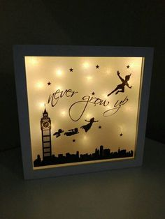 Truly stunning light up shadow box displaying your favourite Peter Pan characters and the infamous Never Grow Up quote. Measures 25x25cm and is available with ANY background coloured lights however warm white is our favourite (as shown in photo) May be personalised with a name (please leave in checkout if required)  This is not a licensed Disney Product. It is a handmade inspired product and is no way affiliated or sponsored by Disney Enterprises.