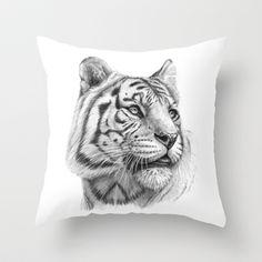 White Tiger G2011-003 Throw Pillow by S-Schukina - $20.00