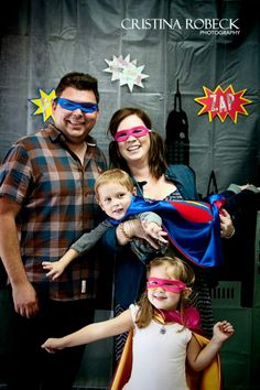 super hero photo booth | in honor of the superfamily - DIY Superhero Photo Booth