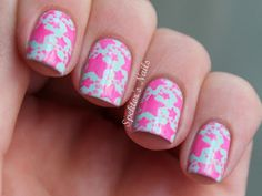 Spektor's Nails: Neon Pink & Mint Starfish Nails (Mint Candy Apple / Pool Party)