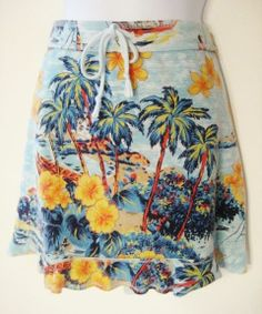 "This print just makes you want to go to some tropical paradise!  ""Express"" Hawaiian Print Skirt, Blue Multi-Color, Size M $16.99"