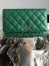 2790d8175e90 NWT CHANEL 18S Green WOC MINI CLUTCH BAG WALLET ON CHAIN 2018 Metallic  Emerald