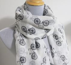 White Bicycle Scarf Off White with Black Bicycle Scarf Large Scarf on Etsy, $16.28 CAD