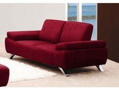 2-Sitzer-Sofa Federkern Microfaser Jazz - Rot