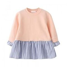 Sweet Striped Pleated Long-sleeve Dress for Baby and Toddler Girl
