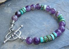 Meditation and Strength Amethyst & Turquoise bracelet, pumpkinhollowcreatns.  Love the colors...