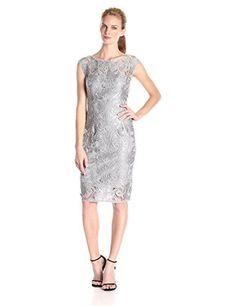 Adrianna Papell Women's Sheath Evening Sleeveless Dress, Silver, 12 UK (8 US, 40 EU)