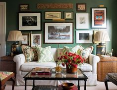 cozy den with gallery wall