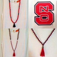 Handmade Boho Beaded Tassel Necklaces...Red & Black #NC STATE WOLFPACK by macandmamastassels on Etsy