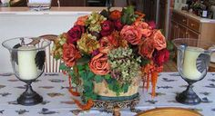 Artificial Roses and preserved natural hydrangea, amatanthus caudatus, foliage arrangement for dining room table