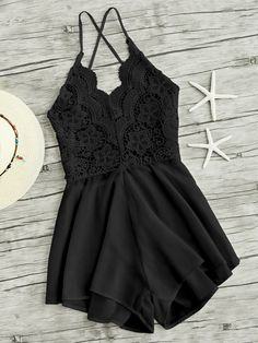SHEIN offers Lace Panel Criss Cross Backless Romper & more to fit your fashionable needs. Backless Jumpsuit, Jumpsuit With Sleeves, Backless Dresses, Sleeveless Dresses, Fashion Clothes, Fashion Outfits, Fashion Fashion, Fashion Ideas, Vintage Fashion