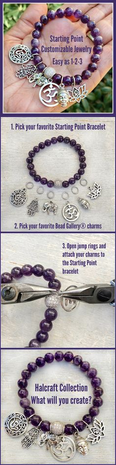 Starting Point bracelets are perfect for beginners! All you need is your favorite Bead Gallery charms and a finished stretch bracelet from the Halcraft Collection! #stretchbracelet #semipreciousbeads #charms #amethyst #beginnerbeading