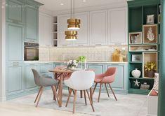 Дизайн интерьера кухни Apartment Furniture, Apartment Interior, Kitchen Interior, Kitchen Decor, Studio Kitchen, Living Room Kitchen, Kitchen Design, Green Kitchen, Kitchen Colors