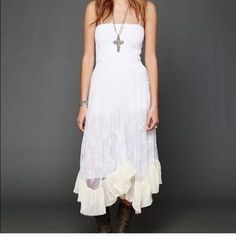 I just added this to my closet on Poshmark: Free People Intimately Lace ruffled dress NWT. Price: $48 Size: L
