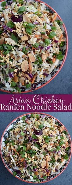 Asian Chicken Ramen Noodle Salad is crunchy and tangy with cabbage, carrots, green onion, almonds, chicken and an Asian vinaigrette that is perfect for meal prep and is packed with protein and veggies! More from my site Ramen Noodle Salad Recipe Asian Chicken Salads, Chicken Salad Recipes, Healthy Salad Recipes, Asian Chicken Noodle Salad Recipe, Salad Chicken, Healthy Chicken, Oriental Salad, Clean Dinner Recipes, Salad Recipes For Dinner