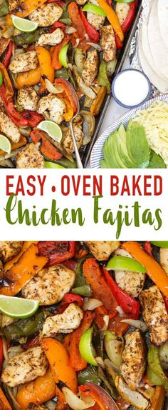 These Easy Baked Chicken Fajitas are a simple, quick family dinner. Chicken breast pieces, coated in fajita seasoning, with peppers and onions oven cooked to perfection. Serve with tortillas, sour cream or yoghurt, grated cheese and avocado for a complete meal. via @tamingtwins