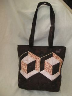 Small Quilted Tote Bag with Hexagon Cubes by ISewTotes on Etsy, $40.00