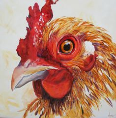 Coop The Chicken - Sold, painting by artist Kay Wyne Rooster Painting, Rooster Art, Chicken Painting, Chicken Art, Chicken Drawing, Chickens And Roosters, Pet Chickens, Animal Paintings, Animal Drawings