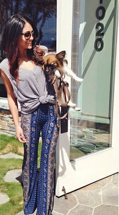 Boho. Casual. Flared Pants. Knotted Shirt.