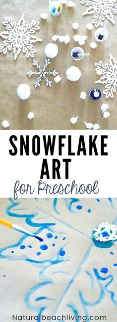 Snowflake Art for Preschool and Kindergarten - Natural Beach Living Process Art Preschool, Preschool Supplies, Preschool Art, Summer Art Projects, Cool Art Projects, Projects For Kids, Fine Motor Activities For Kids, Winter Activities For Kids, Weather Activities
