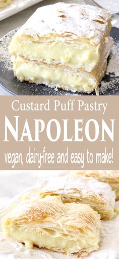Easy vegan custard puff pastry Napoleon made with rich coconut and cashew milk, vanilla extract and thickened up with tapioca. Dairy-free and naturally sweetened with maple syrup. Gallette Recipe, Napoleons Recipe, Custard Recipes, Puff Pastry Recipes, Vegan Mac And Cheese, Napoleon Dessert, Napoleon Pastry, Cake Mug, Vegans