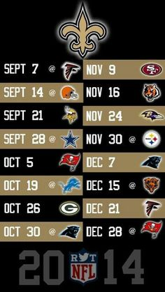 2014 New Orleans Saints Schedule if your team is here get ready for yer whoopin!  #saints #football_schedule
