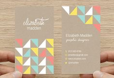 Geometric Triangles Business Card - Kraft Paper Rustic Design. Printable Premade Template, Calling Card - Digital Download DIY