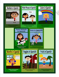 Spanish for Kids Bundle 1 - A Bundle of 8 books to help your students learn Spanish.  Pronunciation Guide included!
