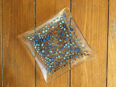 Clear & Blue Fused Glass Plate 7 inches wide