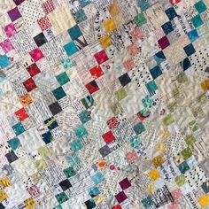 #apqquiltalong #gofourit my scrappy version of the 2015 APQ Quiltalong featuring four patches. Lots of the fabrics were left over from the 2014 Quiltalong and a modern stacks quilt.