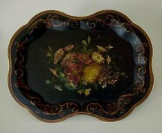 Antique Victorian Tole Tray Handpainted Floral Toleware