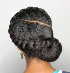 Natural Twisted Updo with Low Bun Natural Bun Updo with a Side Twist Protect your delicate curls in a beautiful way. This protective hairstyle is a pleasure to flaunt, and you can be sure that you natural hair is taken care of. Protective Hairstyles For Natural Hair, Natural Hair Updo, Natural Hair Care, Natural Hair Styles, 4c Natural Hairstyles, Cabello Afro Natural, Pelo Natural, African Hairstyles, Girl Hairstyles