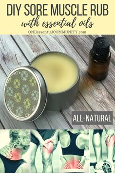 DIY Sore Muscle Rub with essential oils - One Essential Community - - DIY sore muscle rub w/ essential oils --> all natural, deep-penetrating, works quickly, & smells sooooo much better than store bought rubs. Essential Oils For Pain, Doterra Essential Oils, Young Living Essential Oils, Essential Oil Diffuser, Essential Oil Blends, Essential Oils Sore Muscles, Essential Oils Massage, Diy With Essential Oils, Lemongrass Essential Oil Uses