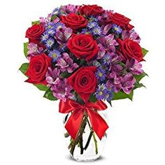 From You Flowers - Red Roses, Purple Alstroemeria, Purple Monte Casino - Mixed Bouquet (Free Vase Included), for Valentine's Day