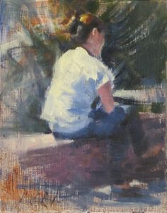 July 6x8 inches Plein air Impressionist Female figure Daily painting, painting by artist Daniel Peci