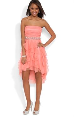 Strapless High Low Prom Dress with Mesh Bodice and Tendril Skirt