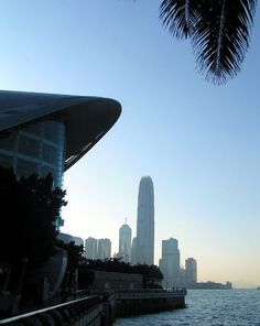 """A view from Hong Kong Convention and Exhibition Centre (HKCEC), in Wanchai, towards the skyscrapers of """"Central"""""""