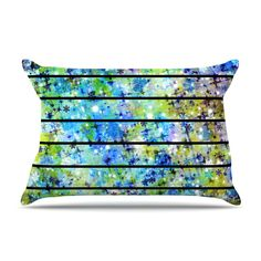"""Ebi Emporium """"Stripes and Snowflakes"""" Blue Green Rectangular Pillow Cover, @kessinhouse #EbiEmporium #decor #homedecor #stripes #blue #green #turquoise #teal #galaxy #pillow #cushion #pillowcover #decorative #colorful #fineart #art #abstract #painting #nightsky #starrynight #bedding #bedroom"""