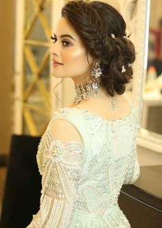 Styled by in jewelry by hair and makeup by my love Pakistani Bridal Makeup, Bridal Mehndi Dresses, Pakistani Wedding Dresses, Indian Wedding Hairstyles, Party Hairstyles, Bride Hairstyles, Pakistani Engagement Hairstyles, Bridal Hair Buns, Hair Upstyles