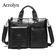 6ec60d6eed75 Guaranteed Business Men Shoulder Bag Genuine Leather Mens Portable  Briefcase Crossbody Bag Black Computer Handbag-in Crossbody Bags from  Luggage   Bags on ...