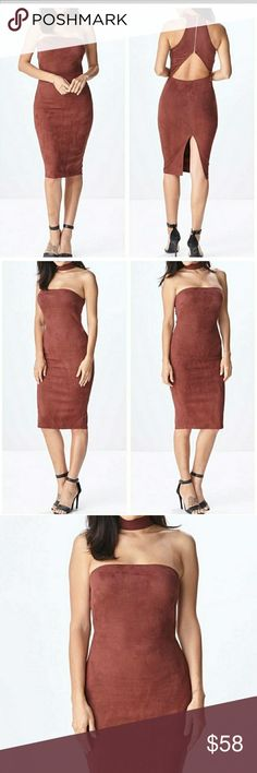 Choker Dress Beautiful faux suede look and lightweight. Polyester /Spandex. Rust Dresses Strapless