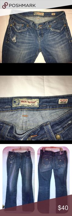 """MEK denim jeans This is a gently used pair of MEK jeans , style Munich , boot cut , 29""""34"""" . Front rise is 8"""" , full leg opening is 20"""" MEK Jeans Boot Cut"""