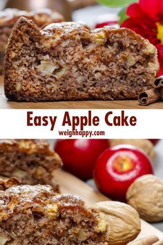 Easy Apple Cake is a great way to use extra apples of all varieties and make a dessert or snack for the whole family that is healthy and delicious. snacks with apples Easy Apple Cake Baked Apple Dessert, Easy Apple Cake, Fresh Apple Cake, Apple Dessert Recipes, Apple Recipes, Healthy Desserts, Easy Desserts, Baking Recipes, Healthy Apple Desserts