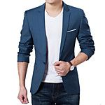 Men's Solid Casual Blazer,Cotton Long Sleeve Blue / Pink / Gray 2016 - $26.99