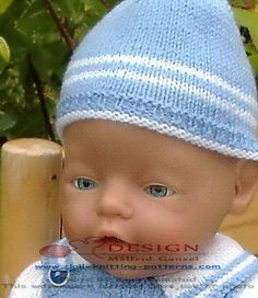 Hi, I am Timmy Design: Målfrid Gausel - mode Baby Knitting Patterns, Doll Patterns, Knitted Hats, Crochet Hats, Baby Born, Pulls, Blue And White, Design, Shopping