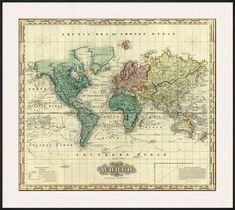 Vintage World Map PRINTABLE Map PrintInstant Digital Download - Printable antique world map