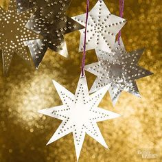 So simple to make, in no time you'll have your own constellation. Cut shapes from disposable foil pans. Use a pushpin to create punched designs, keeping shape on top of cardboard to protect work surface. Attach a loop of string for hanging. /